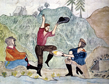 Contemporary illustration of a gold find from 1853.