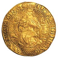 England, Elizabeth I, queen of England 1558-1603, sovereign valued at 30 shillings, gold, 1583-1600