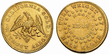 Norris, Grieg & Norris. Privately minted gold coin 1849 weighing a
