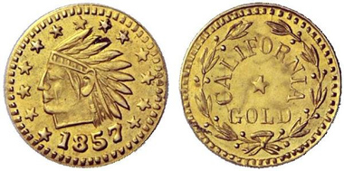 Privately coined 1/2 dollar piece 1857. From auction sale Hess-Divo 323 (2013), 891.