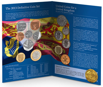 The Royal Birth 2013 United Kingdom Definitive Coin Set comprises the eight denominations of the circulating denominations struck in 2013.