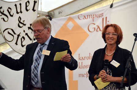 Opening ceremony of Campus St. Galli, to the left the project's initiator and chairman of the board, Bert M. Geurten, to the right the head of site, Verena Scondo. Photograph: Campus St. Galli.