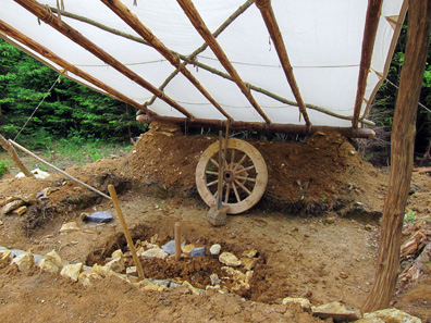 The working place of the pottery maker is being prepared. Photograph: KW.