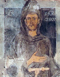 Top part of the oldes portrait of St Francis, a mural painting in the sacred grotto 'St Benedict's Cave' in Subiaco.