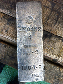 One example of a .999 fine silver ingot recovered from lot four of the insured cargo documented for the SS Gairsoppa shipwreck site. Three of the four lots contained .917 fine silver ingots. During Odyssey's recovery expeditions conducted in 2012-2013, the team was able to recover more than 99% of the insured silver cargo of the SS Gairsoppa. Photo: Odyssey Marine Exploration, Inc., www.odysseymarine.com