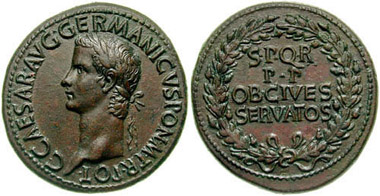 Brass sestertius of Caligula, struck at Rome, AD 39-40, around the time that Amminus surrendered to him at Mainz. Photo: Classical Numismatic Group.