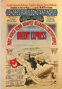 Poster advertising the Winter 1888/89 timetable for the Orient Express. Source. Wikipedia.