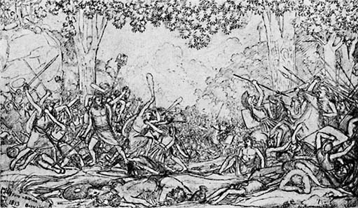 The Battle of the Teutoburg Forest. Drawing of Crown Prince Frederick III. Clearly visible are the oaks under which the Prussian Prince let the battle take place.