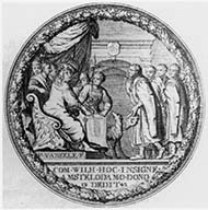 Amsterdam. Medal 1648. Holy Roman Emperor Maximilian granted the city of Amsterdam their privileges in 1488. Scenery encompassed by oak wreath. Rev. Philipp IV sealed the peace with the seven provinces. Scenery encompassed by oak wreath.