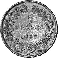 France. Louis-Philippe I, 1830-1848. 5 Francs 1848, Straßburg. Dav. 91. From auction sale MMAG 91 (2001), 686.