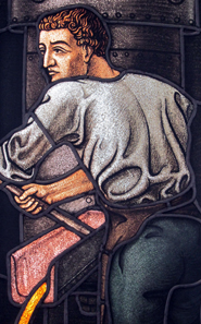 A founder at work. Detail from the original Schuler company building. Photograph: UK.