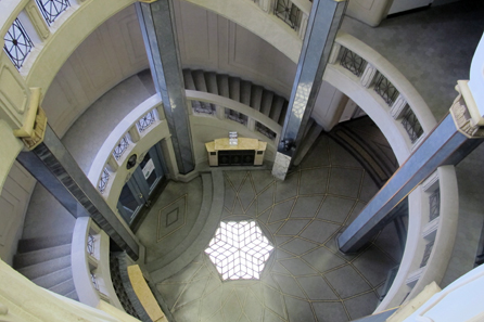 A view inside the headquarters' monumental staircase. Photograph: Schuler AG.