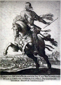 Equestrian portrait of Wallenstein, copperplate engraving, no year. Original measures 35.3 x 26.6cm, c.1625/28.