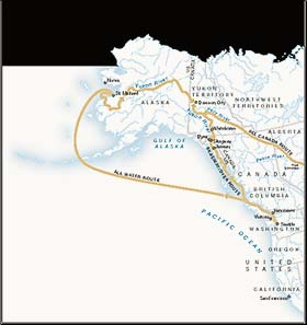 Different routes to the Klondike region