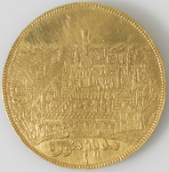A unique, gold medallion with representations of the two Holy Sanctuaries struck around 1845, diameter: 3.7 cm. Nasser D. Khalili Collection of Islamic Art � Nour Foundation. Courtesy of the Khalili Family Trust.