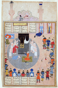 Alexander visits the Ka'bah illustration to the Shahnamah of Firdawsi Shiraz, mid 16th century, ink, opaque watercolour and gold on paper, 37.5 x 24.2 cm. Nasser D. Khalili Collection of Islamic Art © Nour Foundation. Courtesy of the Khalili Family Trust.