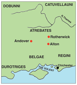 N Hants borderland between Atrebates, Belgae and Regini seems to have been a focus for coin copying and counterfeiting c.150-40 BC, until Commios took control of minting in this region. Source: Chris Rudd.