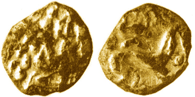 Forger's bronze die,15x18mm, 33.96g, for obverse of Gallo-Belgic Biface gold stater, c.early 1st century BC (cf. ABC 13), like this small, eroded, gold-plated forgery from nearby field. Found at Rotherwick, near Basingstoke, N Hants, c.8.8.1993. Photos: Jeffrey May (coin), British Museum (die).