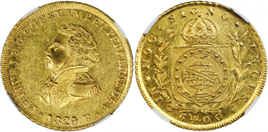 Lot 12071, BRAZIL. 6,400 Reis (Peca), 1824-R. NGC MS-61. Realized $47,000.