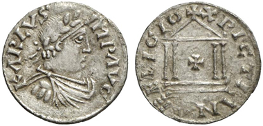 Denarius with the portrait of Charlemagne. From Künker auction 205 (2012), 1405. Lender: Herb Kreindler.