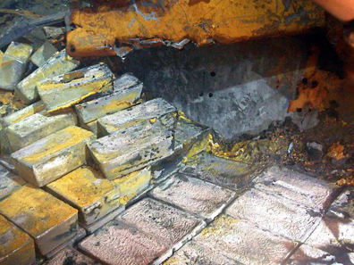 In July 2012, Odyssey announced the discovery of silver on the SS Gairsoppa. This record-breaking operation has so far produced the heaviest and deepest recovery of precious metals from a shipwreck. Photo: Odyssey Marine Exploration, Inc., www.odysseymarine.com.