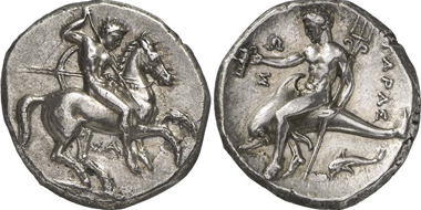 Taranto. Didrachm, before 300 BCE. From Gorny & Mosch 195 (2011), 14.