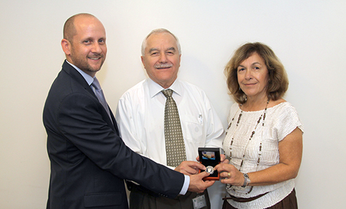 Right to left, Gilada Diament, daughter of Yitzhak Shamir, Yair Shamir, Minister of Agriculture, Aviv Katz, CEO, Israel Coins and Medals Corp.