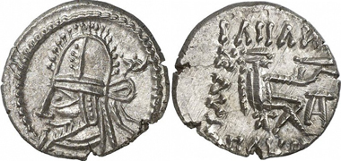 Artabanos IV, A. D. 80-90. Drachm, Ecbatana. From auction sale Gorny & Mosch - Stuttgart 1 (2010), 298.