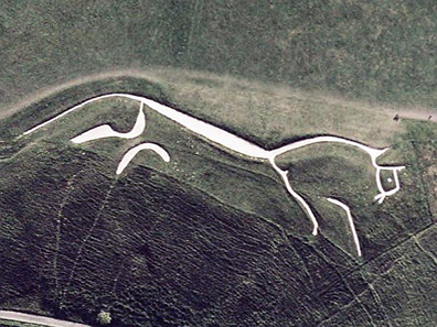 Satellite view of the famous Uffington White Horse. Photo: NASA.