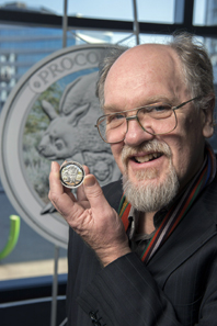 Peter Trusler with the Australian Megafauna Procoptodon coin.