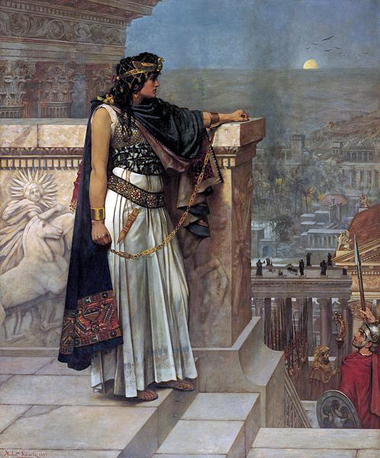 Zenobia looks at Palmyra one last time. Painting by Herbert Schmalz.