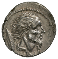 Roman Republic. Denarius, minted under the watch of mint master L. Hostilius Saserna, 48 BC. Head of a Gaul facing right, and behind it, a Gallic shield. Rev., Celtic chariot in pursuit, facing right, with Celtic warrior in full armament on the chassis. © MoneyMuseum, Zurich.