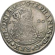 No. 8004: Stephen Báthory. Taler, 1580, Olkusz. Kopicki 550 (R8). Hutten-Czapski 637 (R7). Dark patina. Good very fine/almost extremely fine.  2.500 / 103.500 Euros