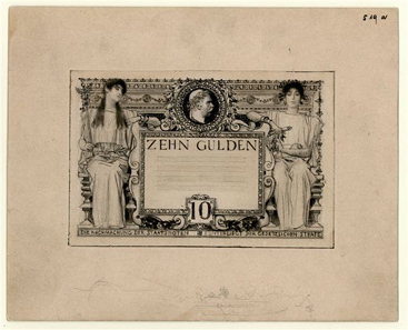 Abb. 1: Draft of 10 gulden 1892 by Gustav Klimt and Franz Matsch.