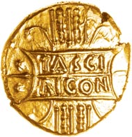 Tribute money? Tasciovanos gold stater found near St. Albans, Herts. To be sold by Chris Rudd in January 2014. Photo: E. Cottam.