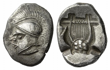 97: Thraco-Macedonian tribes. Uncertain mint. Double siglos, c. 500 B. C. Extremely rare. Extremely fine. Starting price: 24,000 euros. Hammer price: 65,000 euros.