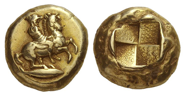 137: Cyzicus. El-stater, 460-400. Rare. Very fine. Starting price: 15,000 euros. Hammer price: 38,000 euros.
