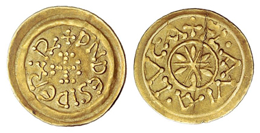 434: Lombards. Desiderius, 757-773. Tremissis, Lucca. From auction sale Ratto 1965, no. 543. Extremely rare. About extremely fine. Starting price: 5,400 euros. Hammer price: 9,500 euros.