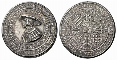446: HRE. Ferdinand I, 1521-1564. 2 1/4 schauthaler 1529, Joachimstal. Trace of mounting(?), extremely fine. Starting price: 1,800 euros. Hammer price: 15,000 euros.