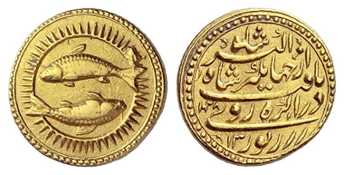 681: Islam. Mughal Empire. Nur-ad-Din Muhammad Jahangir, 1605-1628. Zodiac mohur, 1618. Rosen Coll. and Numismatik Lanz 41 (1987), 1162. Very rare. About extremely fine / extremely fine. Starting price: 4,500 euros. Hammer price: 42,000 euros.