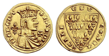 759: Italy. Kingdom of Naples. Charles I of Anjou. Reale d'oro, Barletta. Grigoli 4 (1990), 569. Extremely rare. Extremely fine. Starting price: 15,000 euros. Hammer price: 42,000 euros.