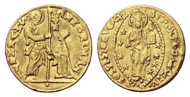 829: Italy. Venice. Antonio Grimani, 1521-1523. Ducato, n. y. Extremely rare. Very fine. Starting price: 12,000 euros. Hammer price: 21,000 euros.