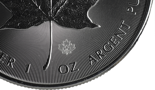 The textured maple leaf is a micro-engraving produced by laser and incorporates the numeral