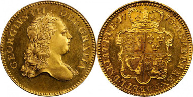 1003: GREAT BRITAIN. George III, 1760-1820. Pattern 5 Guineas, 1773. S-3723; Fr-350; KM-Pn52. Starting price: $60,000. Sold for: $440,625.