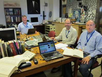 Kenneth Sheedy, Damian Gore and Gil Davis are registering the ANS coins for a corpus of early Athenian coins. Photo: UK.