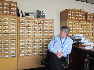 Old index cards in Andrew Meadows's office. Photo: UK.