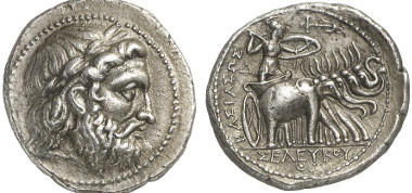 Seleucus I Nicator, 312-281. Tetradrachm, after 296/5, Seleucia at the Tigris. From auction sale Gorny & Mosch 211 (2013), 433. Estimate: 1,500 euros. End result: 4,600 euros.