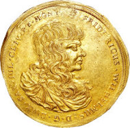 30092: Saxe-Altenburg. Duke Friedrich Wilhelm III gold 10 Ducats 1672, KM-unlisted, Fr-2913, AU58 NGC. Sold for: $105,750.