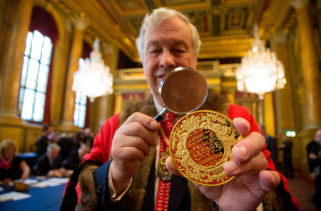 Around 40,000 coins are being inspected during this year's Trial of the Pyx. Photograph: The Goldsmiths' Company/Richard Lea-Hair