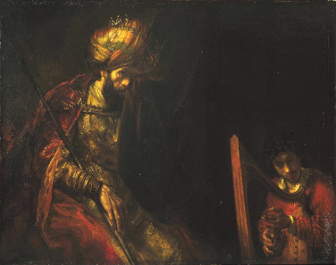 Rembrandt or workshop, Saul and David, between 1650 and 1670. Source: Wikicommons.